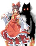 1girl ascot bangs benikurage_(cookie) black_legwear blush boots bow breasts brown_eyes brown_hair commentary_request cookie_(touhou) detached_sleeves different_shadow fangs feet_out_of_frame fingernails frilled_bow frilled_hair_tubes frilled_skirt frills glowing glowing_eyes hair_bow hair_tubes hakurei_reimu hyper_muteki_(artist) long_fingernails looking_at_viewer medium_hair open_mouth orange_scarf pantyhose parted_bangs red_bow red_eyes red_shirt red_skirt ribbon-trimmed_sleeves ribbon_trim sarashi scarf shadow sharp_fingernails shirt simple_background skirt sleeveless sleeveless_shirt small_breasts smile solo striped striped_scarf touhou white_background white_footwear white_sleeves yellow_ascot yellow_scarf