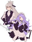 1boy 1girl adjusting_hair alternate_costume apron axe back_bow bangs black_dress black_gloves blush bow bow_(weapon) breasts bridal_gauntlets brown_eyes butler camilla_(fire_emblem) center_frills closed_mouth cosplay do_m_kaeru dress eyebrows_visible_through_hair feather_trim felicia_(fire_emblem) felicia_(fire_emblem)_(cosplay) fire_emblem fire_emblem_fates fire_emblem_warriors formal frills gloves grey_hair hair_over_one_eye hair_ribbon hand_in_hair high_ponytail holding holding_axe holding_bow_(weapon) holding_weapon jakob_(fire_emblem) jakob_(fire_emblem)_(cosplay) juliet_sleeves large_breasts long_hair long_sleeves looking_at_viewer maid maid_headdress official_alternate_costume one_eye_covered open_mouth ponytail puffy_sleeves purple_hair purple_ribbon ribbon sidelocks simple_background suit takumi_(fire_emblem) upper_body very_long_hair violet_eyes waist_apron wavy_mouth weapon white_apron white_background white_bow white_suit