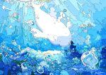 1girl absurdres animal beluga_whale blue_dress bubble dress field flower flower_field highres nara_lalana ocean original scenery surreal underwater whale