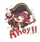 1girl :d ^_^ anchor_symbol arrow_(projectile) arrow_through_heart bangs bicorne black_headwear black_jacket black_leotard blush chibi closed_eyes commentary_request covered_navel epaulettes eyebrows_visible_through_hair eyepatch facing_viewer fang full_body gloves hair_ribbon hat heart highres hololive houshou_marine jacket leotard leotard_under_clothes long_hair long_sleeves open_clothes open_jacket pleated_skirt red_ribbon red_shirt red_skirt redhead ribbon shirt simple_background skirt sleeveless sleeveless_shirt sleeves_past_fingers sleeves_past_wrists smile solo sparkle totatokeke twintails v-shaped_eyebrows virtual_youtuber white_background white_gloves