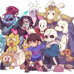 =_= alphys angry asgore_dreemurr bangs boots brown_footwear crying everyone eyepatch flowey_(undertale) frisk_(undertale) holding holding_stick long_sleeves looking_at_another mettaton_ex monster_boy monster_girl monster_kid_(undertale) muffet napstablook open_mouth papyrus_(undertale) pointing purple_shirt purple_shorts robot sans shirt short_hair shorts simple_background standing stick striped striped_shirt sweat sweatdrop tenya_mizuki toriel undertale undyne white_background