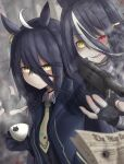 2girls absurdres ahoge animal_print blurry blurry_foreground casing_ejection cat_print coat cup earrings english_commentary eyebrows_visible_through_hair eyes_visible_through_hair fingerless_gloves firing genderswap genderswap_(mtf) ghost gloves gun handgun heterochromia highres holding holding_gun holding_weapon horse_girl jewelry leogust long_bangs m1911 manhattan_cafe_(umamusume) mixed-language_commentary multicolored_hair multiple_girls necktie newspaper personification pistol red_eyes sharp_teeth shell_casing single_earring streaked_hair sunday_silence_(racehorse) teacup teeth translucent two-tone_hair umamusume weapon weapon_request white_hair yellow_eyes yellow_neckwear
