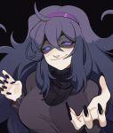 1girl @_@ absurdres ahoge alternate_breast_size bangs big_hair black_background breasts dress fingernails hair_between_eyes hairband half-closed_eye hex_maniac_(pokemon) highres large_breasts long_dress long_fingernails long_hair looking_at_viewer messy_hair nail_polish pokemon pokemon_(game) pokemon_xy porqueloin purple_hair purple_hairband smile solo very_long_hair violet_eyes