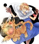 2girls alice_margatroid animalization bangs black_headwear blonde_hair blue_dress bow brown_gloves capelet cigarette closed_mouth collared_capelet commentary_request cookie_(touhou) dress feet_out_of_frame fingerless_gloves frilled_capelet frills full_body gloves gun_in_mouth hair_between_eyes hair_over_eyes hairband hat hat_bow hyper_muteki_(artist) jigen_(cookie) kirisame_marisa koga_(cookie) lion long_hair multiple_girls necktie red_eyes red_hairband red_necktie red_sash sash short_hair smoking touhou white_background white_bow white_capelet witch_hat