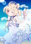 1girl animal_ears arknights bear_ears black_panties blonde_hair blue_headwear blue_sky candy_hair_ornament clouds cloudy_sky commentary cowboy_shot eyebrows_visible_through_hair food food-themed_hair_ornament gummy_(arknights) gummy_(summer_flowers)_(arknights) hair_ornament hairclip hat highres holding holding_food hoshitabell ice_cream_cone index_finger_raised lens_flare navel official_alternate_costume one-piece_swimsuit one_eye_closed outdoors panties red_eyes sailor_collar sailor_one-piece_swimsuit short_hair sky solo swimsuit underwear white_swimsuit