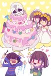2girls =_= angry bangs bare_shoulders blush bone bride brown_hair chara_(undertale) closed_mouth crying dog dress earrings flower frisk_(undertale) gloves green_shirt hair_flower hair_ornament hand_on_own_face heart heart_background holding holding_knife holding_stick jewelry knife knight long_sleeves looking_at_another looking_up multiple_girls open_mouth purple_shirt red_eyes sans shirt simple_background skeleton smile snail stick striped striped_shirt sweat sweatdrop tenya_mizuki thought_bubble undertale waving wedding_cake wedding_dress white_background white_dress yellow_background yellow_flower