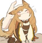 1girl :3 animal_ears arknights baiwei_er_hao_ji blush boots brown_coat brown_collar brown_footwear brown_hair ceobe_(arknights) chibi closed_eyes coat collar dog_ears dog_tail headpat long_hair petting simple_background solo tail thigh-highs thigh_boots weibo_username white_background