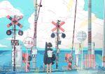 1girl absurdres blue_sky clouds guitar highres instrument ocean original outdoors pleated_skirt railroad_tracks scenery school_uniform serafuku short_hair sign skirt sky yasi_irasuto