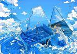 2girls absurdres black_hair blue_sky bubble clouds dress highres instrument long_dress multiple_girls music nara_lalana ocean original piano playing_instrument sky surreal water