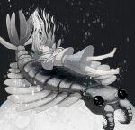 1girl anomalocaris bare_legs barefoot bubble closed_eyes floating_hair grey_hair grey_sailor_collar grey_shirt grey_skirt greyscale hanio3 highres long_hair long_sleeves monochrome original own_hands_together pleated_skirt sailor_collar school_uniform serafuku shirt skirt solo upshirt