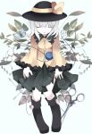 1girl butterfly closed_eyes hat komeiji_koishi long_sleeves nekokyu scissors shirt silver_hair skirt solo third_eye touhou vines wide_sleeves