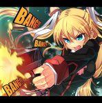 blonde_hair blue_eyes casing_ejection firing gun handgun is_ii little_busters little_busters! long_hair muzzle_flash pistol shell_casing solo tokido_saya twintails weapon
