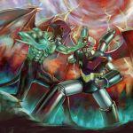 amputee crossover damage damaged devil devilman devilman_(character) fudou_akira grin mazinger_z mazinger_z_(mecha) mecha oldschool shin_mazinger_shougeki!_z-hen smile storm super_robot wings yusao