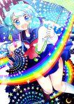 hair_ornament hanada_hyou highres kochiya_sanae rainbow school_uniform touhou umbrella