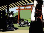 black_hair crossover detached_sleeves hakurei_reimu hermes japanese_clothes kino kino_no_tabi m303 miko motor_vehicle motorcycle reverse_trap short_hair torii touhou vehicle