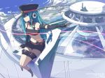 aqua_eyes aqua_hair gloves hat hatsune_miku headphones headset jong_tu midriff project_diva scenery shorts sitting smile solo star twintails vocaloid