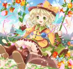 1girl bird blue_sky boots bow clouds daiso field flower flower_field green_eyes hat hat_bow hat_flower komeiji_koishi long_sleeves open_mouth petals shirt silver_hair skirt sky smile solo swing swinging third_eye touhou wide_sleeves