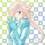 bikesuit blonde_hair blue_eyes bodysuit gloves hair_over_one_eye highres long_hair mario_kart nintendo rosalina smile solo star super_mario_bros. tamamon
