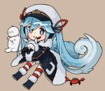1girl 1other animal binoculars black_coat black_footwear blue_eyes boots brown_background coat commentary crab fur-trimmed_boots fur-trimmed_coat fur-trimmed_hood fur_trim hair_ribbon hat hatsune_miku holding holding_animal hood hood_up light_blue_hair long_hair looking_at_viewer military military_uniform naval_uniform open_mouth rabbit rabbit_yukine red_ribbon ribbon ryere sailor_hat seal_(animal) striped striped_legwear thigh-highs twintails uniform very_long_hair vocaloid wavy_hair white_headwear yuki_miku yuki_miku_(2022)