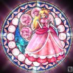 1girl ^_^ amyroser bangs blonde_hair closed_eyes crown dress earrings elbow_gloves english_commentary gloves hair_behind_ear highres jewelry kingdom_hearts luigi mario mushroom one_eye_closed parody pink_dress pointing pointing_up princess_daisy princess_peach smile solo stained_glass super_mario_bros. super_smash_bros. white_gloves