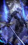 1boy absurdres aura demon_boy devil_may_cry_(series) devil_may_cry_5 floating glowing glowing_eyes glowing_mouth haikei_(le_gris_no9) highres multiple_wings sin_devil_trigger solo sword vergil_(devil_may_cry) weapon wings yamato_(sword)