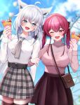 2girls :d alternate_costume amusement_park animal_ears arm_hug bag belt blush commentary_request cowboy_shot crepe eye_contact food fox_ears fox_girl fox_tail handbag highres holding holding_food hololive houshou_marine looking_at_another miniskirt multiple_girls namagome_negi open_mouth redhead shirakami_fubuki silver_hair size_difference skirt smile tail thigh-highs virtual_youtuber