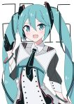 1girl 2015 aqua_eyes aqua_hair black_neckwear bracelet commentary dress fang giryu gloves hair_ornament half_gloves hand_up hatsune_miku heart highres jewelry light_blush long_hair looking_at_viewer magical_mirai_(vocaloid) necktie open_mouth smile solo twintails very_long_hair vocaloid waving white_background white_dress