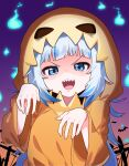 1girl :d bangs blue_eyes blue_hair commentary english_commentary eyebrows_visible_through_hair gawr_gura halloween halloween_costume hands_up highres hitodama hololive hololive_english long_hair long_sleeves looking_at_viewer multicolored_hair sharp_teeth silver_hair smile solo streaked_hair teeth tosyeo upper_body v-shaped_eyebrows very_long_hair wide_sleeves