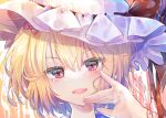 1girl artist_request bangs blonde_hair blush bow commentary_request eyebrows_visible_through_hair face flandre_scarlet hair_between_eyes hair_bow hand_up hat hat_ribbon head_tilt highres looking_at_viewer mob_cap one_side_up open_mouth portrait red_bow red_ribbon ribbon short_hair simple_background smile solo touhou touhou_gouyoku_ibun violet_eyes white_background white_headwear
