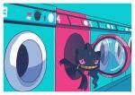 absurdres banette border commentary_request glass highres looking_at_viewer no_humans peeking_out pink_eyes pokemon pokemon_(creature) saiku_(zvlku) solo washing_machine white_border zipper zipper_pull_tab