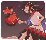 2girls arm_up arrow_(symbol) bangs barefoot belt black_belt black_bow black_hair black_headwear blue_belt blue_bow blue_neckwear blush border bow bowl bowl_hat bracelet closed_eyes closed_mouth collar collared_dress donki_(yeah) dress eyebrows_visible_through_hair gradient gradient_background hair_between_eyes hand_up hands_up hat horns japanese_clothes jewelry jumping kijin_seija kimono long_sleeves looking_at_another multicolored_hair multiple_girls necktie open_mouth puffy_short_sleeves puffy_sleeves purple_background purple_hair red_dress red_eyes red_kimono redhead short_hair short_sleeves smile standing sukuna_shinmyoumaru teeth touhou white_border white_dress white_hair wide_sleeves
