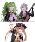 3girls absurdres black_gloves black_jacket blue_headwear breasts collarbone eyebrows_visible_through_hair fingerless_gloves framed girls_frontline gloves green_hair grey_hair guitar hand_up hat highres holding holding_instrument instrument jacket jewelry long_hair looking_at_another looking_at_viewer m200_(girls'_frontline) m870_(girls'_frontline) m950a_(girls'_frontline) multiple_girls necklace necktie open_clothes open_jacket open_mouth orange_eyes orange_hair police police_hat police_uniform policewoman shirt short_hair suprii teardrop twintails uniform upper_body violet_eyes white_background white_shirt yellow_eyes yellow_jacket