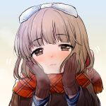1girl bangs blunt_bangs blush bow brown_hair coat eyebrows_visible_through_hair full-face_blush gloves hair_bow hands_on_own_cheeks hands_on_own_face idolmaster idolmaster_cinderella_girls looking_at_viewer motion_lines oonishi_nishio patterned_clothing plaid plaid_scarf red_gloves scarf school_uniform solo steam upper_body yorita_yoshino