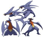 claws commentary_request garchomp highres morio_(poke_orio) multiple_views no_humans open_mouth outline pokemon pokemon_(creature) sharp_teeth simple_background spikes standing teeth tongue white_background
