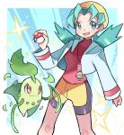 1girl bike_shorts chikorita commentary_request cropped_jacket eyelashes green_eyes green_hair hair_tie hand_up hat highres holding holding_poke_ball hyou_(hyouga617) knees kris_(pokemon) long_hair long_sleeves looking_to_the_side open_mouth poke_ball poke_ball_(basic) pokemon pokemon_(creature) pokemon_(game) pokemon_gsc red_shirt shirt smile sparkle teeth tied_hair tongue twintails yellow_headwear