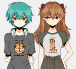 04119_snail 2girls annoyed arm_behind_back ayanami_rei bangs blue_eyes blue_hair brown_pants expressionless eyebrows_visible_through_hair garfield garfield_(character) grey_background grey_shirt hand_on_hip highres holding_own_arm multiple_girls neon_genesis_evangelion orange_hair pants print_shirt red_eyes shirt shirt_tucked_in short_hair souryuu_asuka_langley t-shirt two_side_up upper_body