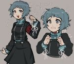 1girl aqua_eyes aqua_hair armband black_skirt blush commentary crying english_commentary english_text flying_sweatdrops gekkoukan_high_school_uniform green_sweater grey_background highres long_sleeves looking_at_viewer multiple_views open_mouth persona persona_3 remdevv school_uniform short_hair signature simple_background skirt smile sweater tearing_up tears teeth turtleneck turtleneck_sweater uniform upper_teeth yamagishi_fuuka