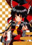 1girl ahoge ascot bare_shoulders black_hair bow breasts checkered checkered_background closed_mouth cowboy_shot detached_sleeves eyebrows_visible_through_hair frilled_ascot frilled_bow frilled_hair_tubes frills hair_bow hair_tubes hakurei_reimu holding holding_umbrella long_hair looking_at_viewer oil-paper_umbrella orange_ascot orange_eyes orange_neckwear qqqrinkappp red_bow red_ribbon red_shirt red_skirt ribbon ribbon-trimmed_sleeves ribbon_trim sarashi shirt skirt skirt_set sleeveless sleeveless_shirt small_breasts solo touhou traditional_media umbrella wide_sleeves