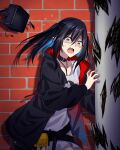 1girl absurdres arknights belt black_collar black_hair black_jacket breasts closure_(arknights) collar collarbone eyebrows_visible_through_hair feet_out_of_frame highres hood hooded_jacket jacket long_hair looking_at_viewer open_clothes open_jacket open_mouth pointy_ears red_eyes shirt solo standing suprii tears upper_body wall white_shirt