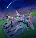 2girls absurdres bangs black_gloves blonde_hair blue_eyes breasts closed_mouth elbow_gloves elira_pendora eyebrows_visible_through_hair gloves hair_ornament hair_ribbon hairclip highres index_finger_raised jewelry legs long_hair looking_up lying multiple_girls necklace night night_sky nijisanji nijisanji_en on_back on_ground open_mouth pointy_ears pomu_rainpuff red_eyes ribbon shoes sky smile star_(sky) starry_sky suprii virtual_youtuber