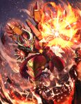 absurdres armor dragon dragon_horns explosion explosive fire full_body glowing glowing_eyes glowing_hands gold_trim green_eyes highres horns ken_ill legs_apart mecha molten_rock no_humans open_mouth original outstretched_hand red_armor sharp_teeth standing teeth