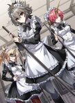 1boy 2girls absurdres anger_vein angry apron artist_name blonde_hair blue_eyes bow bowtie braid breasts clenched_teeth command_spell commentary_request eyebrows_visible_through_hair fate/apocrypha fate_(series) frankenstein's_monster_(fate) green_eyes grey_hair hair_between_eyes hair_bun hand_on_hip haoro highres horns indoors long_sleeves looking_at_viewer maid maid_apron maid_headdress mordred_(fate) multiple_girls pantyhose parted_lips pink_hair ponytail red_eyes shaded_face sieg_(fate) single_horn small_breasts standing teeth twitter_username watermark