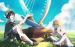 1boy 1girl androgynous bangs bare_shoulders beret black_hair blonde_hair blue_hair boots bow braid breasts closed_eyes closed_mouth collared_cape collared_shirt commentary_request day detached_sleeves dress flower frilled_sleeves frills genshin_impact gradient_hair grass green_headwear hair_between_eyes hair_flower hair_ornament harp hat highres indian_style instrument leaf long_sleeves lumine_(genshin_impact) multicolored_hair open_mouth outdoors remosea shirt shoes short_hair short_hair_with_long_locks side_braids sidelocks sitting smile thigh-highs thigh_boots twin_braids venti_(genshin_impact) white_dress white_flower white_shirt yellow_eyes