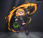 1girl :d arknights asymmetrical_legwear axe bangs black_dress black_footwear black_legwear blonde_hair bob_cut dress fang full_body green_jacket holding holding_axe horns id_card jacket lataedelan open_mouth pointy_ears red_eyes shoes short_hair smile sneakers solo tail thigh-highs uneven_legwear v-shaped_eyebrows vanilla_(arknights)