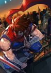 1boy bandaged_arm bandages blue_eyes brown_hair covered_mouth holding holding_sword holding_weapon male_focus muscular muscular_male ninja outdoors plasma_sword red_scarf scarf short_hair solo spiky_hair squatting strider_(video_game) strider_hiryuu sword weapon