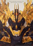 artist_name azzalea character_name english_commentary gundam gundam_unicorn highres looking_at_viewer mecha mobile_suit no_humans nt-d portrait red_eyes science_fiction solo unicorn_gundam_banshee v-fin watermark