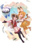 2girls animal_ears artist_name backpack bag bangs black_footwear black_gloves black_hair black_legwear blonde_hair bow bowtie cat_ears cat_tail elbow_gloves frischenq full_body gloves grey_eyes hat hat_feather helmet holding_hands kaban_(kemono_friends) kemono_friends lucky_beast_(kemono_friends) multiple_girls open_mouth outstretched_hand pantyhose pith_helmet red_shirt serval_(kemono_friends) serval_print shirt shoes short_hair short_sleeves shorts signature skirt sleeveless sleeveless_shirt tail white_bag white_footwear white_headwear white_shirt white_shorts yellow_eyes yellow_legwear yellow_skirt