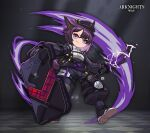 1girl animal_ears arknights bangs baton_(weapon) beret black_footwear black_headwear black_jacket black_pants closed_mouth dur-nar_(arknights) electricity fang full_body hat holding holding_shield holding_weapon jacket lataedelan looking_at_viewer pants polo_shirt purple_hair shield shirt shoes short_hair smile solo tail violet_eyes weapon white_shirt