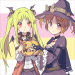 2girls absurdres alternate_costume blonde_hair brown_hair couple fangs fate_testarossa hair_ornament hair_ribbon halloween happy hat highres jack-o'-lantern long_hair lyrical_nanoha mahou_shoujo_lyrical_nanoha mahou_shoujo_lyrical_nanoha_a's multiple_girls rakuichi red_eyes ribbon short_twintails simple_background smile takamachi_nanoha twintails vampire violet_eyes wife_and_wife witch yuri