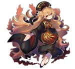 1girl ayahi_4 blonde_hair chinese_clothes crescent fox_tail highres junko_(touhou) long_hair multiple_tails orange_hair red_eyes solo tabard tail touhou